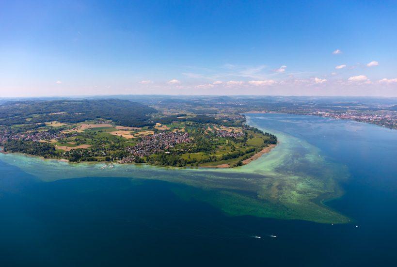 Helikopterblick auf die Halbinsel Höri sowie Gaienhofen